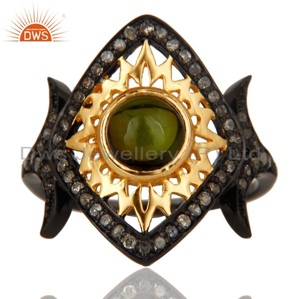 Exporter 18K Gold Plated & Black Oxidized Sterling Silver Pave Diamond & Tourmaline Ring