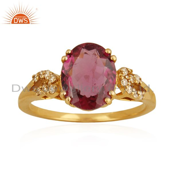 Exporter Solid 18k Yellow Gold Rubellite Tourmaline and Diamond Wedding Ring Manufacturer