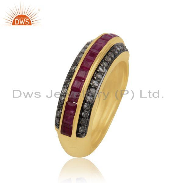 Exporter 925 SIlver Gold Plated Natural Ruby Pave Set Diamond Ring Jewelry