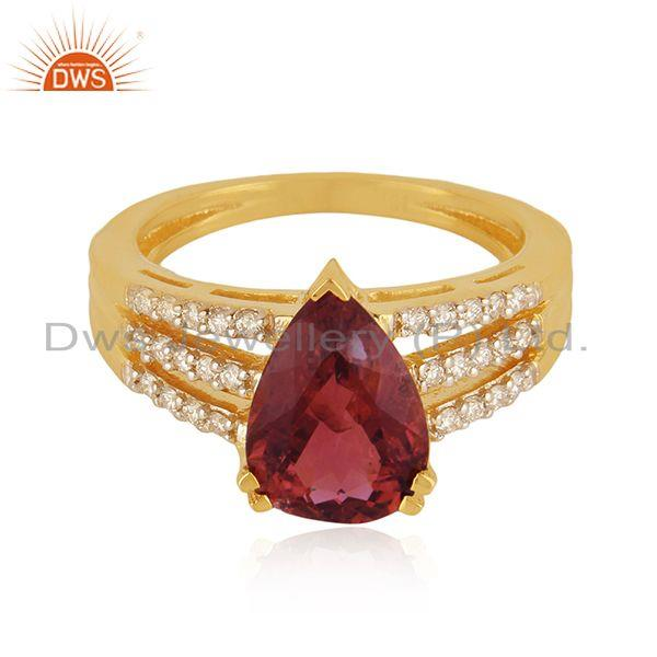 Exporter Solid 18k Yellow Gold Diamond and Tourmaline Gemstone Wedding Ring Manufacturer