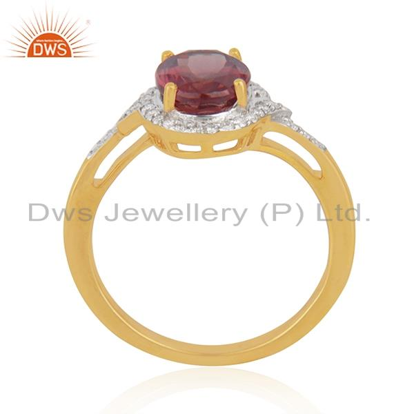 Exporter Solid 18k Yellow Gold Diamond and Garnet Birthstone Wedding Ring Manufacturer