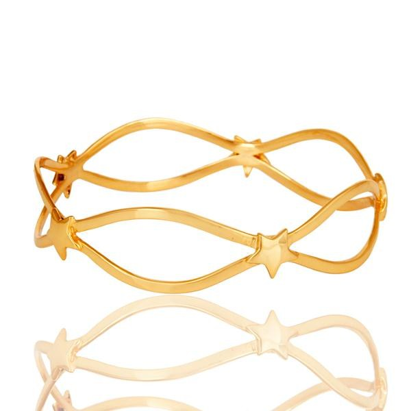Exporter 18k Gold Plated Traditional Star Design Brass Bracelet with White Zircon