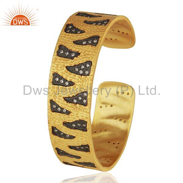Exporter Black And Gold Plated Brass Fashion Zircon Cuff Bracelet Manufacturer