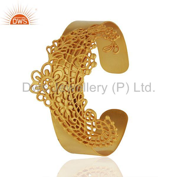 Exporter Filigree Design Brass Fashion Gold Plated Cuff Bracelet Wholesale