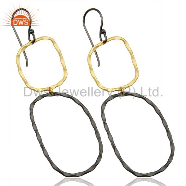 Exporter Black Oxidized 14K Gold Plated Traditional Handmade Fashion Dangle Earrings