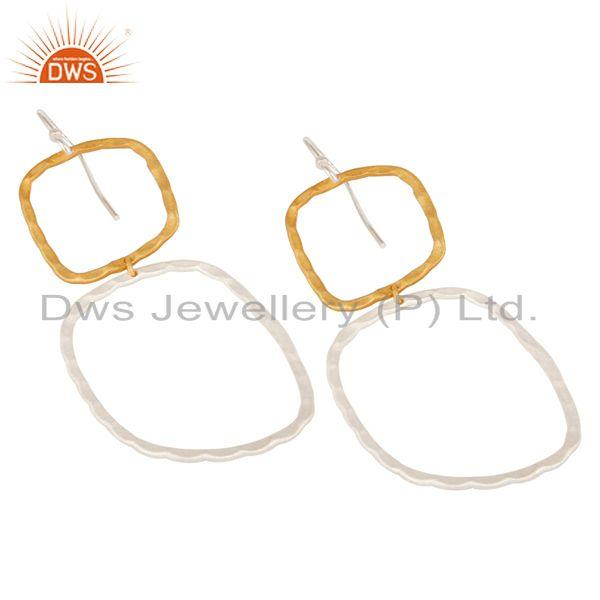 Exporter 14K Yellow Gold Plated & Silver Plated Handmade Fashion Design Brass Earrings