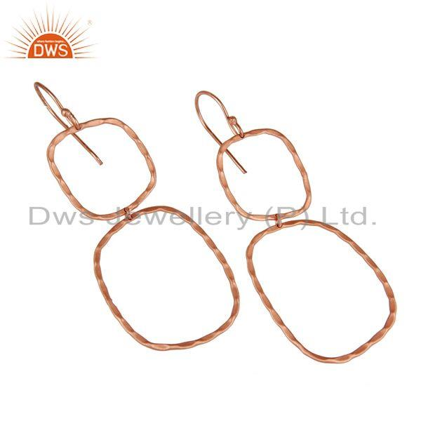 Exporter Handmade Simple Design 18k Rose Gold Plated Brass Earrings Jewellery