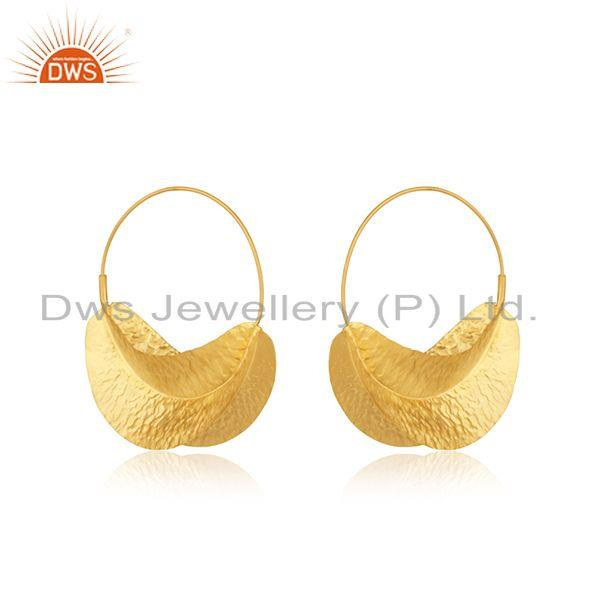 Exporter Handmade Gold Plated Textured Silver Hoop Earring Jewelry