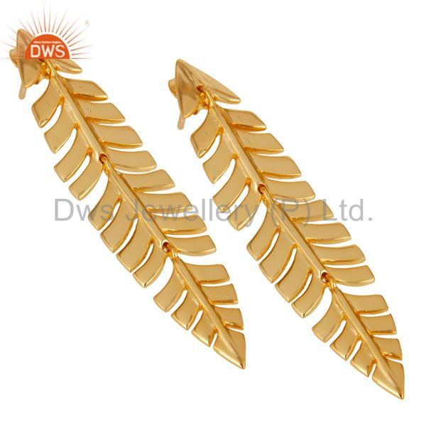 Exporter Vintage Boho Leaf Style 18k Yellow Gold Plated Sterling Silver Dangle Earrings