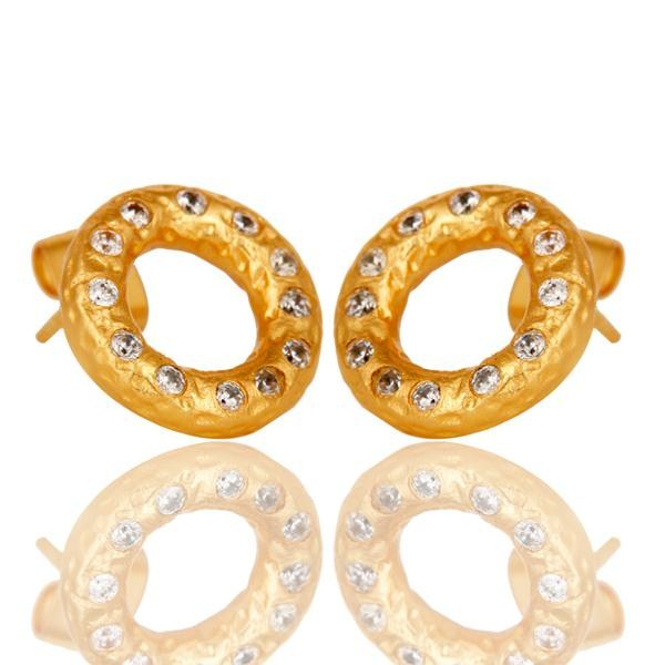Exporter White Zircon Round Gold Plated Brass Fashion Stud Earrings Wholesale