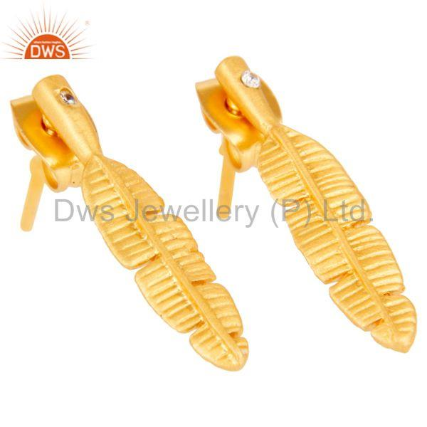 Exporter Traditional Handmade Banana Leaf Design Brass Earrings with 18k Gold Plated