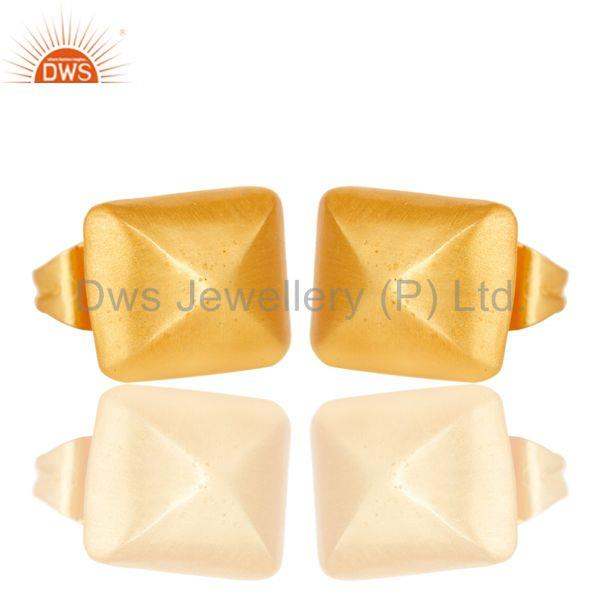 Exporter 18k Gold Plated Handmade Traditional Stud Brass Earrings Jewellery