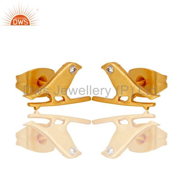 Exporter Handmade White Zircon Bird Design 18k Gold Plated Brass Stud Earrings Jewellery