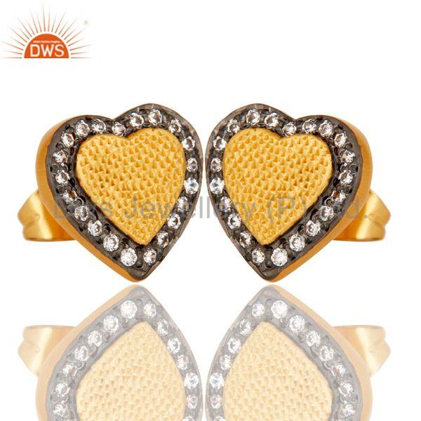 Exporter 18k Gold Plated Unique Heart Shape Design Brass Stud Earrings with White Zircon