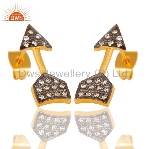 Exporter Handmade 18k Gold Plated with White Zircon Arrow Design Brass Earrings Jewellery
