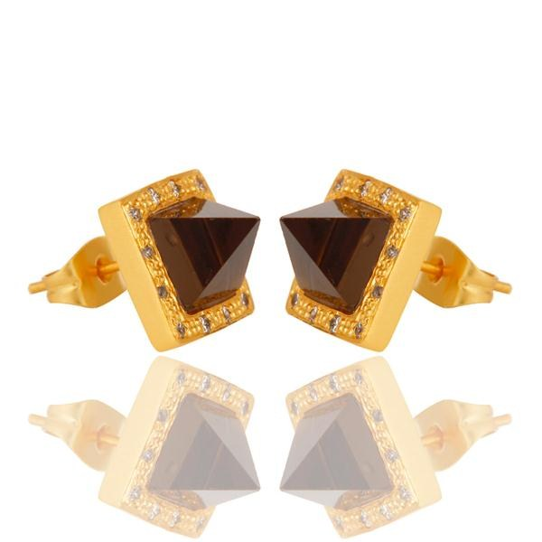 Exporter Smokey Topaz with 18k Gold Plated Brass Earrings Jewellery