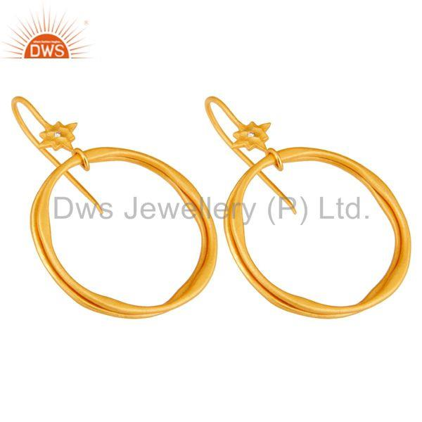 Exporter White Zircon with 18k Gold Plated Brass Round Bali Earrings Jewellery