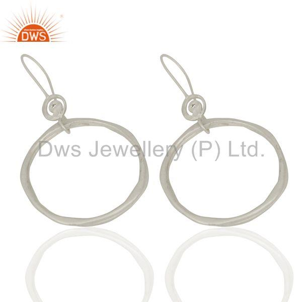 Exporter White Zircon Hoop Dangle Brass Fashion Earrings Gemstone Jewelry