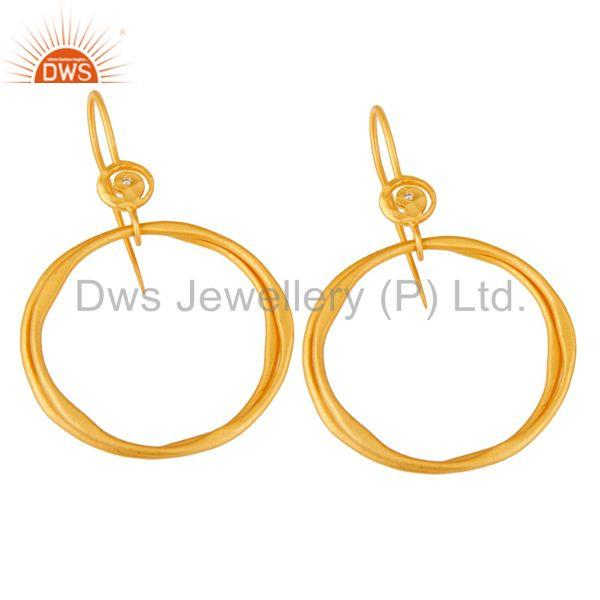 Exporter White Zircon with 18k Gold Plated Brass Round Bali Drops Earrings Jewellery