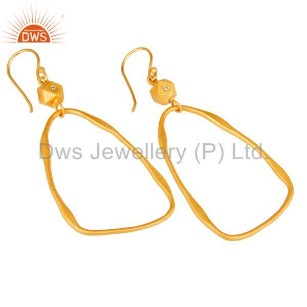 Exporter 18k Yellow Gold Plated Cool Fashion Brass Earrings with White Zircon