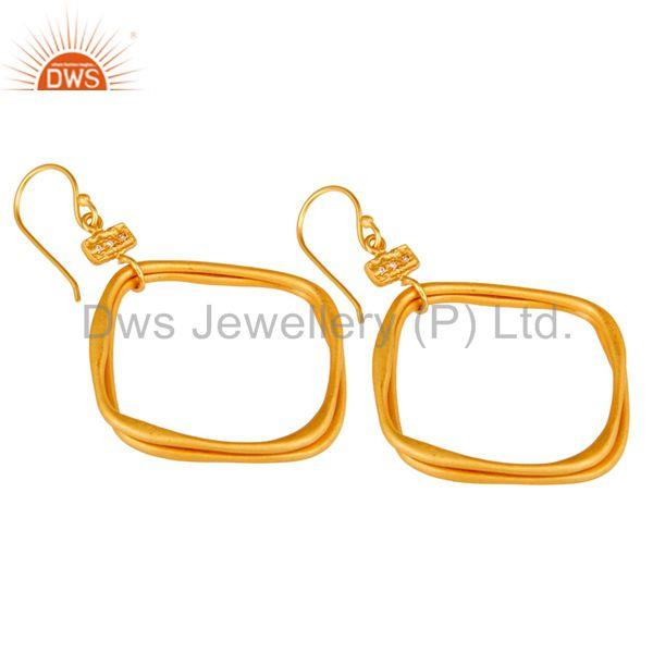 Exporter 18k Gold Plated Handmade Fashion Double Hoop Brass White Zircon Earrings