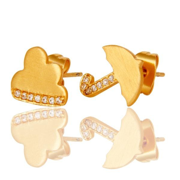 Exporter 18k Gold Plated with White Zircon Umbrella Design Brass Earrings Jewellery