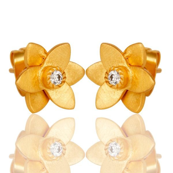 Exporter 18k Gold Plated with White Zircon Flower Design Brass Earrings Jewellery