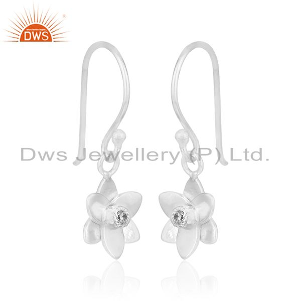 Exporter Floral Design Fine Silver Plated Brass White Zircon Drop Earring Manufacturer