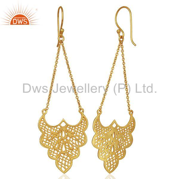 Exporter Crest shaped lace earring is 3.5cm x 2.7cm with 4 cm chain drop Gold Plated