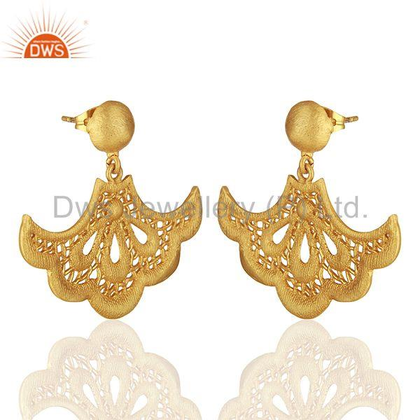 Exporter Fan shaped lace earring with post is 2.3cm x 3.7cm