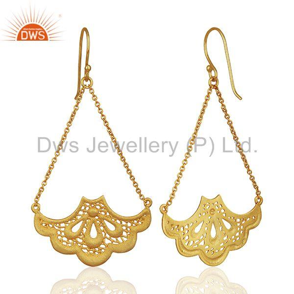 Exporter Fashion Handbag Design Traditional Brass Earrings with 18k Gold Plated