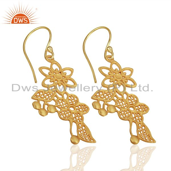 Exporter Flower Carving Shape Traditional Brass Earrings with 18k Yellow Gold Plated