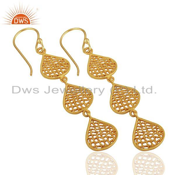 Exporter Three Lace Tear Drop Gold Plated Designer Earring