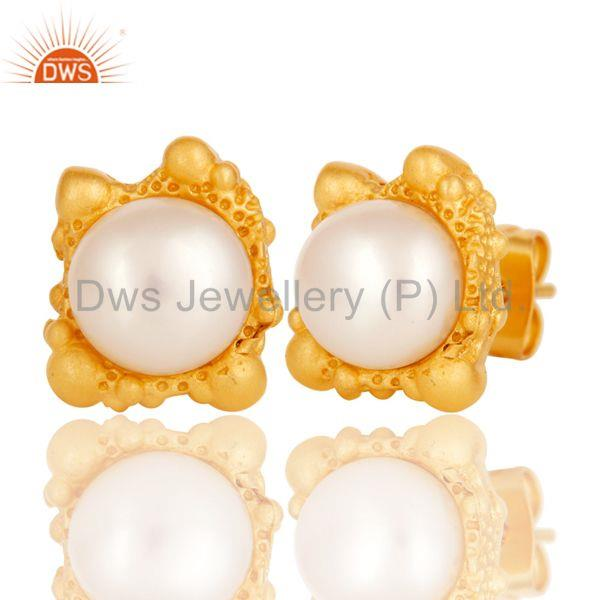 Exporter Lava Post 8 MM Pearl Studded Designer Fashion Earring