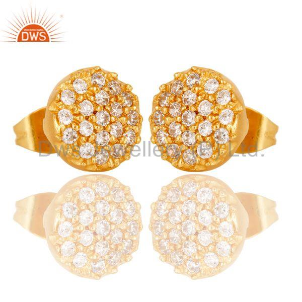 Exporter 18k Gold Plated Simple Round Cut Brass Stud Earrings with White Zircon