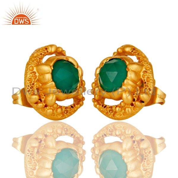 Exporter 7 mm Rose cut Green Onyx Magama Post Earring