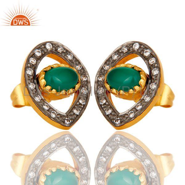 Exporter Mind Blowing Handmade 18k Gold Plated Brass Stud Earrings with Onyx & CZ