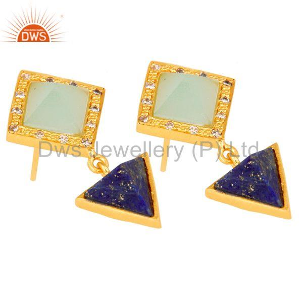 Exporter Lapis,Aqua And Cubic Zarconia Tip Top Design Fashion Earrings