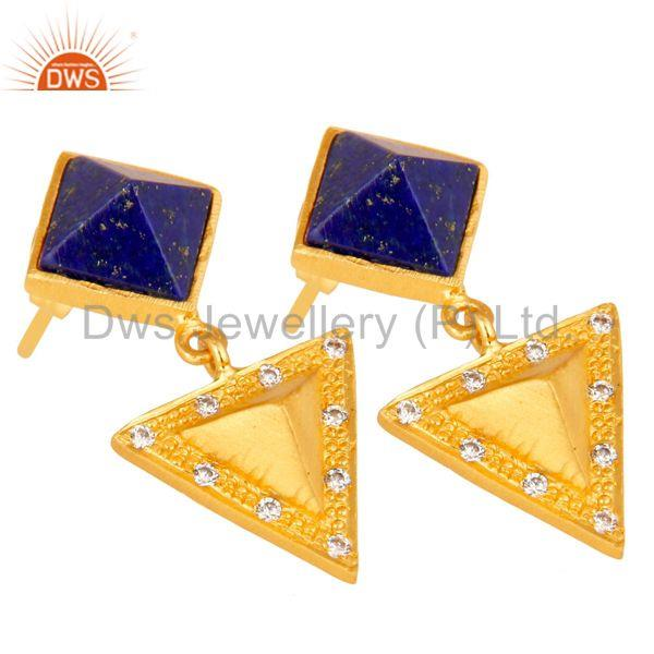 Exporter Lapis Lazuli And Cubic Zarconia Triangle Design Fashion Earrings