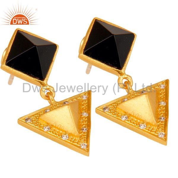 Exporter Black Onyx And Cubic Zarconia Triangle Design Fashion Earrings