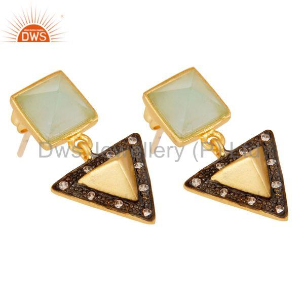 Exporter Aqua And White Zirconia Tip Top Design Fashion Wholeslae Earrings