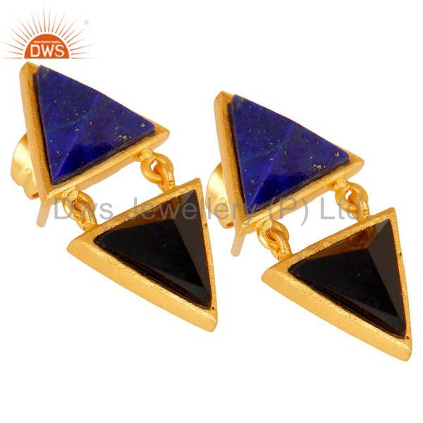 Exporter Handmade Lapis & Black Onyx Tip Top Design Brass Earrings with 18k Gold Plated
