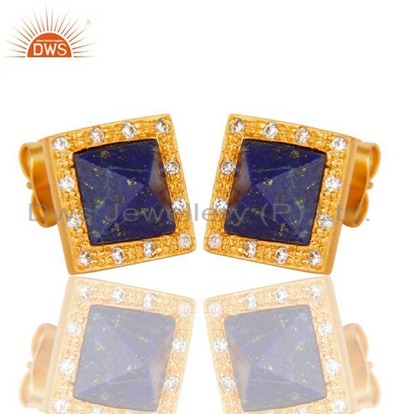 Exporter Handmade Lapis & CZ Cushion Design Brass Stud Earrings with 18k Gold Plated