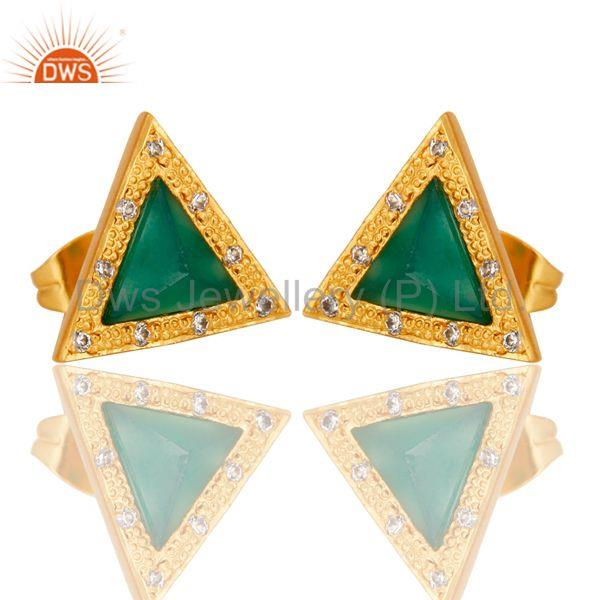 Exporter Green Onyx & Cubic Zarconia Design Brass Stud Earrings with 18k Gold Plated