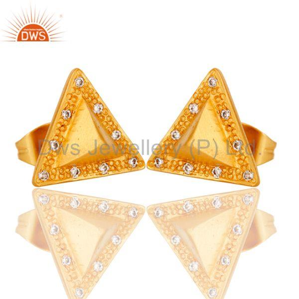 Exporter Triangle Post Fashion Geometry Czz Studded Gift Wholesale Earring