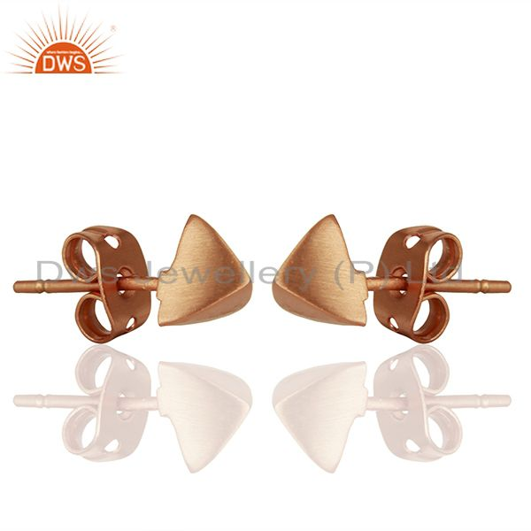 Exporter Pyramid Design Rose Gold Plated Brass Fashion Stud Earring Supplier