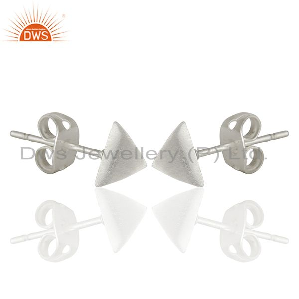 Exporter Pyramid Design Silver Plated Brass Fashion Stud Earring manufacturer