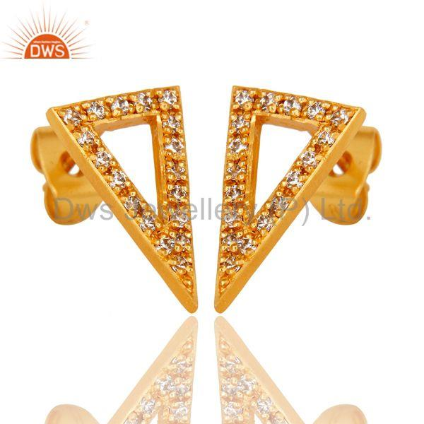 Exporter Indian Handmade 18K Yellow Gold Plated White Zirconia Studs Brass Earrings