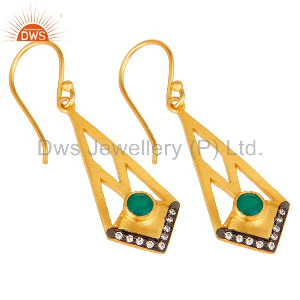 Exporter 18k Gold Plated Traditional Dangle Earrings with Green Onyx & Cubic Zarconia
