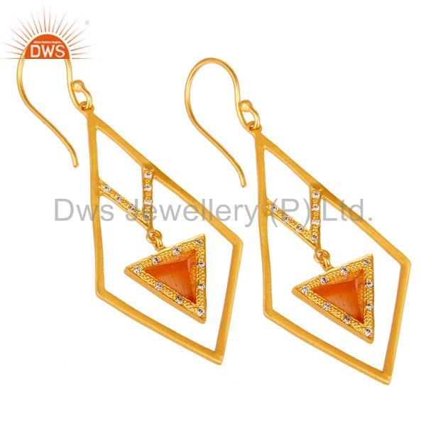 Exporter 18k Gold Plated Traditional Dangle Earrings with Moonstone & Cubic Zarconia